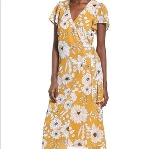 Row A Topshop Nordstrom Yellow Floral Midi Dress